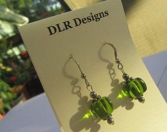 Green Cube Earrings, Green Glass Dangle Earrings, Small Green Earrings, Glass Earrings
