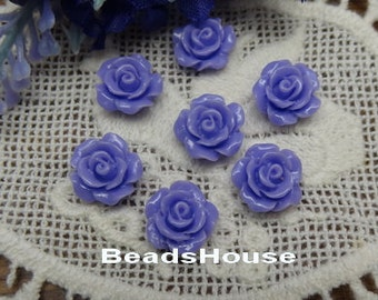 157-00-CA 10pcs (10mm) Beautiful Roses Cabochon- Purple