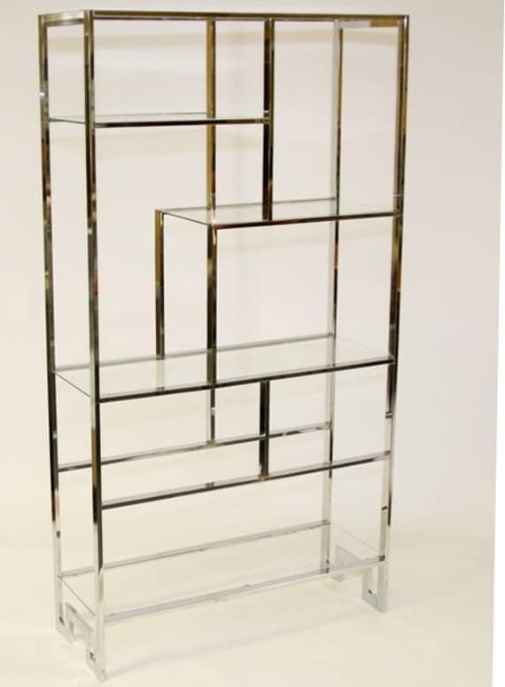 vintage milo baughman shelving unit etagere chrome lay a way. Black Bedroom Furniture Sets. Home Design Ideas