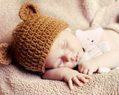 BABY BEAR Hat Brown Teddy Bear , Boy or Girl Hat sizes  Preemie Newborn Infant Toddler Child Sizes Available,GREaT PHoTO PRoP