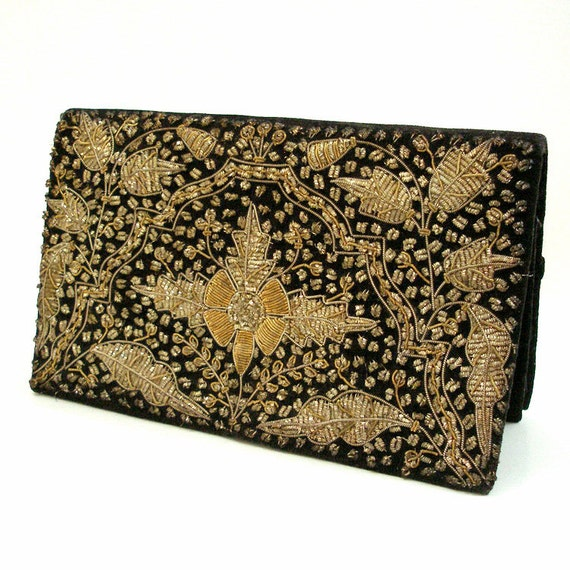 1970s Handbag Clutch / 70s Black Gold Silver Embroidered Evening Bag / Made in India