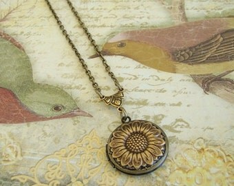 Golden Sunflower Locket Wedding Bride Bridesmaid Small Tiny Necklace Anniversary Birthday Wife Mother Sister Photo Picture - Kristin