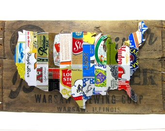 United States Map Collage made from vintage upcycled US beer cans