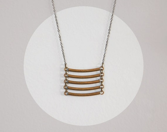 LAST ONE Curved Bar Ladder Necklace