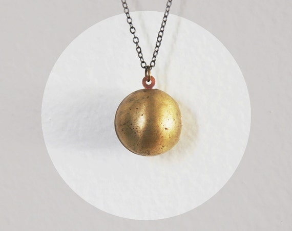 LAST ONE // Brass Ball Locket Necklace