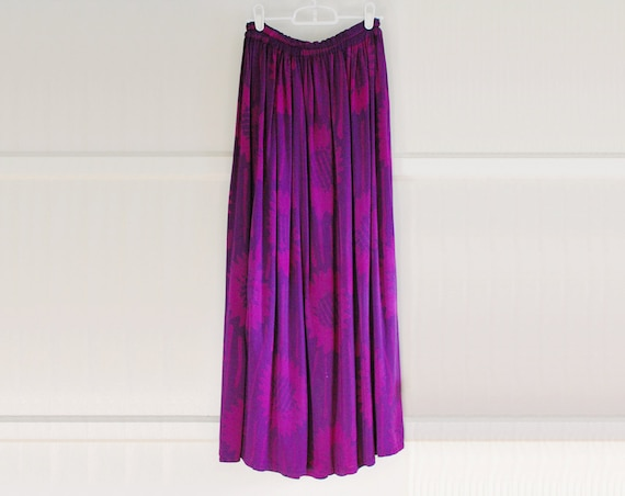 Purple Sunflower Batik Print Maxi Skirt