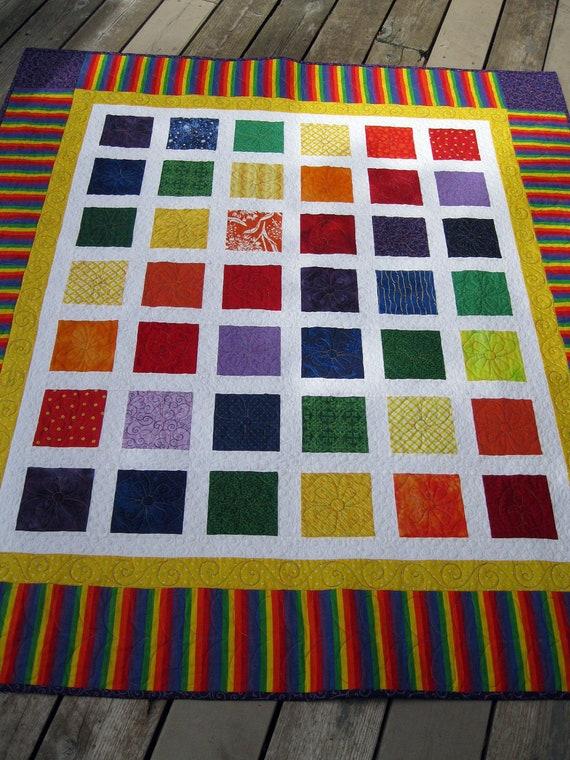 Simply RAINBOW BRIGHTS 54x60 quilt CUSTOM