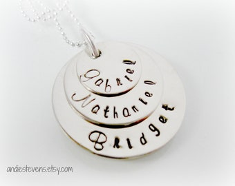 Personalized Hand Stamped Sterling Silver Mommy Necklace Three Names Gabriel