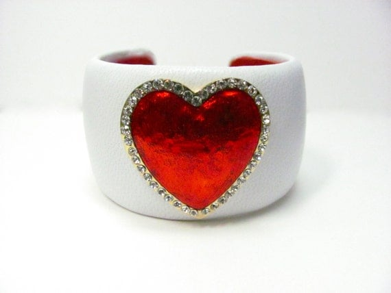Heart Bracelet - Red and White Genuine Leather Cuff Bracelet - Love - Valentine Jewelry - Handcrafted Arm Cuff