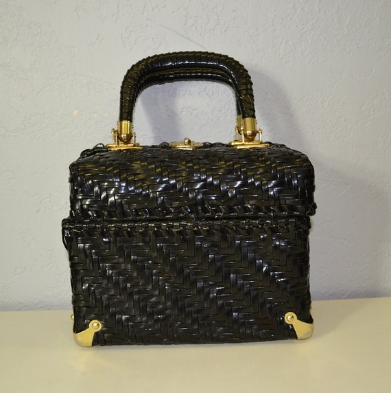 Vintage wicker purse / black basket handbag / 1960s