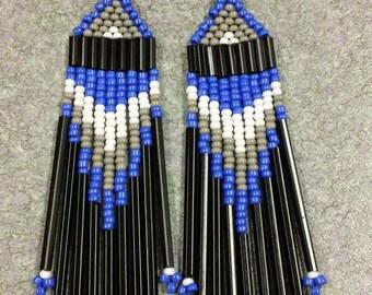 Cobalt Beaded Earrings