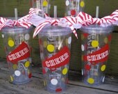 Personalized Cheerleading acrylic tumbler with lid & straw 20 oz.