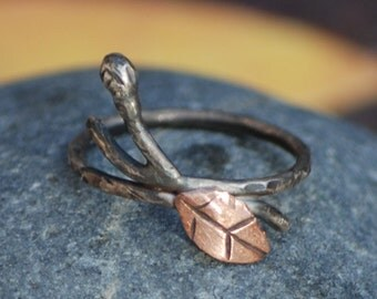 Sterling Silver branch, leaf and bud renewal ring