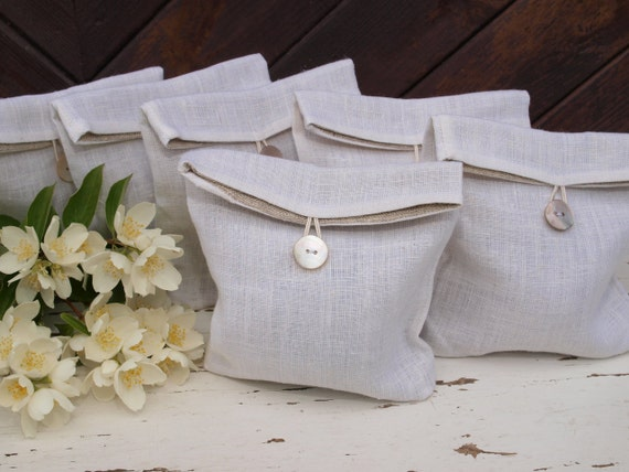 Set of 6 Small Natural White Linen Pouches