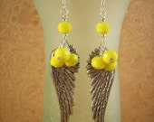 Cowgirl Earrings - Antiqued Silver Angel Wings with Sunny Yellow Crystals