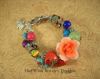 Chunky Day of the Dead Bracelet with Howlite Turquoise Sugar Skulls and Lampwork No. 124