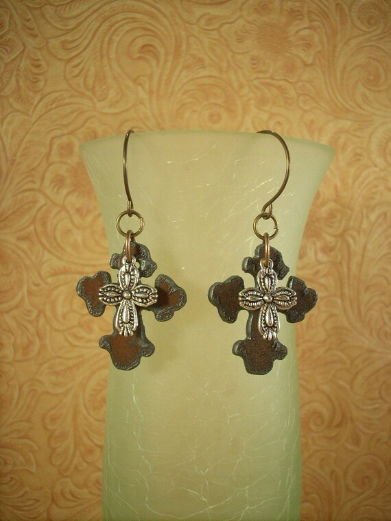 Christian Cowgirl Earrings - Rustic Crosses Topped with Tibetan Silver Cross Charms