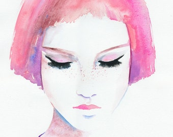 Pink Hair Girl Print, Fashion Illustration, Watercolor Fashion Illustration, Girl with freckles, Fashion Print, Fashion Poster