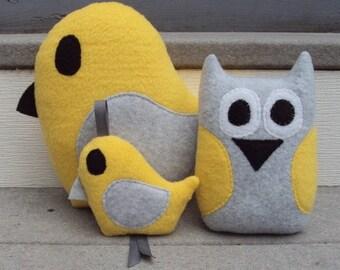 Yellow Gray Bird Gift Set - Yellow Grey Owl and Bird - Owl and Bird Plushies - Owl and Bird Gift Set