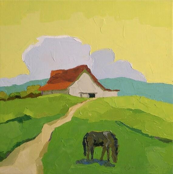 I Know This Land- 16x16 Original Oil Painting on Canvas- Farm Landscape