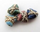 10 Tiny Sacred Heart Beads -ceramic beads - peruvian beads - CB576