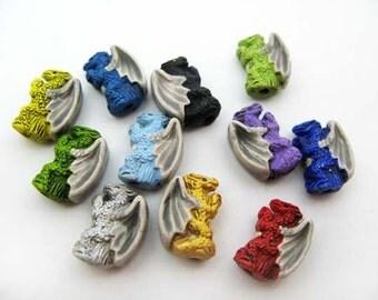10 Ceramic Beads - Tiny Colored Standing Dragon Beads - CB701