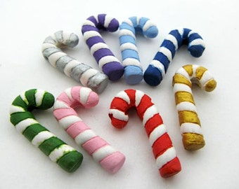 4 Large Candy Cane Beads - mixed