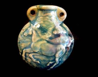 Raku Ceramic Bottle Bead - Horse