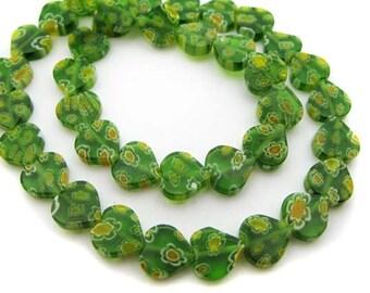 Green with yellow heart Millefiori Beads - CG088