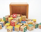 Vintage Wood Blocks Wooden Toy Antique Wood Blocks in Primary Colors
