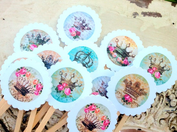 Crown Cupcake Toppers Princess Crown Queen Cake Decorations Shabby Princess Favor Food Picks Crowns and Roses Vintage Inspired Cake Topper