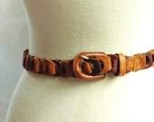 Leather belt / vintage 80s Brown Leather Loop Adjustable Leather Belt size M