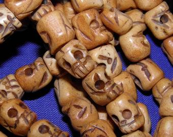 Bone Skull Beads 2 Hand Carved Bone Skulls 1 Pair Day of the Dead Sugar Skull Jewelry for Earrings Bracelet Jewelry Halloween Jewelry Goth