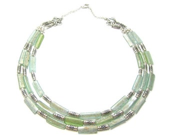 Winter Sale Stunning  Triple Roman  Glass 925 Sterling Silver  Hand Made Necklace