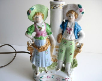 Porcelain French Peasant Couple Lamp
