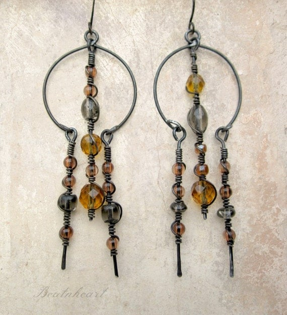 Doorway out of the dark.  Springtime golden yellow dangle earrings primitive tribal modern