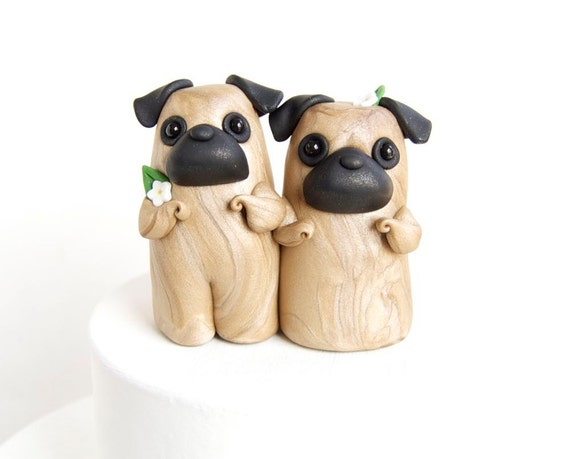 Pug couple wedding cake decorations