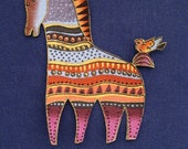 Set of 2 Horse Appliques*Handmade*Very RARE Laurel Burch Mythical Horses Fabric LAST Sets/53