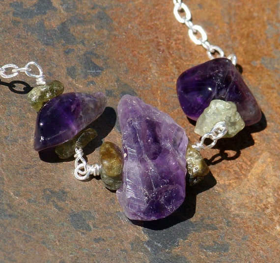 Raw Stone Necklace, Raw Amethyst Necklace, Purple Necklace, Statement Necklace, Green Garnet Necklace, Bohemian Necklace, Handmade Necklace