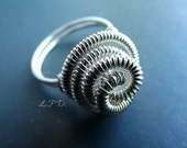20 Percent OFF Wire wrapped Organic Ring In Sterling Silver. Size 6 1/4.