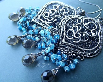Wire Wrapped Sterling Silver Dangle Earrings Blue Apatite and Smoky Quartz.