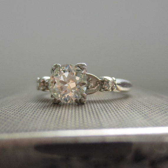 Gorgeous Diamond Engagement Ring. European Cut Diamonds in Platinum. Addy on Etsy.