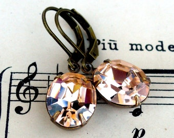 Soft Blushing Peach, Estate Style ,Vintage  Swarovski Oval Crystal Jewel Earrings by Hollywood Hillbilly