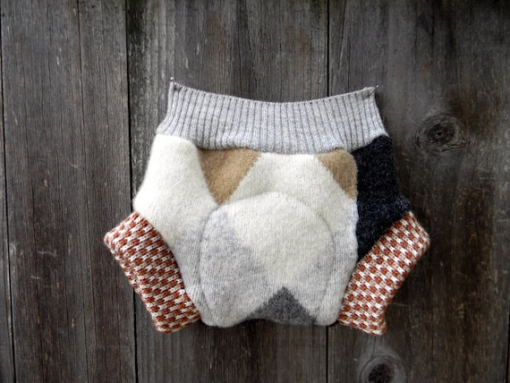 Upcycled Wool Soaker Cover Diaper Cover With Added Doubler LIL Man Argyle NEWBORN 0-3M Kidsgogreen