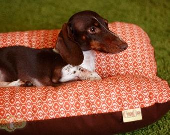 Orange Onions Mod Dog Bed, BUNBED, Dachshund Dog Bed, Small Dog Bed, Hot Dog Bed, Dachshund Bed, Burrow Bed