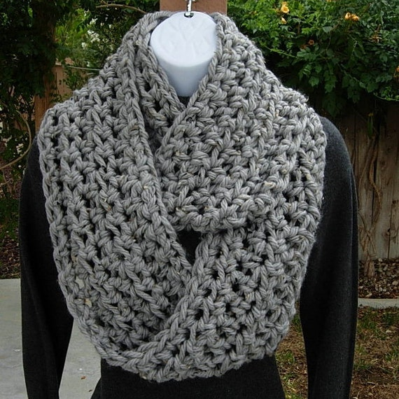 INFINITY LOOP SCARF Light Grey Gray Tweed..100% Super-Soft Bulky Acrylic..Thick Crochet Knit Winter Eternity Cowl..Ready to Ship