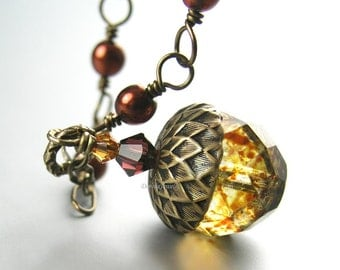 Golden Amber Acorn Necklace Brown Pearl Necklace Antique Gold Brass Necklace Fall Autumn Fashion