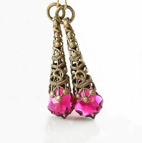 Ruby Earrings Swarovski Ruby Pink Crystal Earrings Victorian Filigree Antique Brass Earrings Raspberry Fuchsia