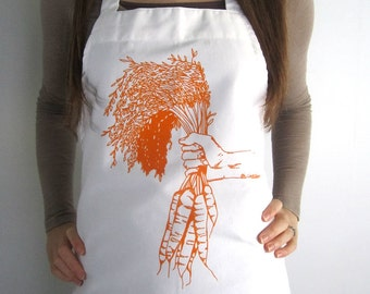 Screen Printed Apron - Natural Cotton Twill Apron - Carrot Illustration - Eco Friendly Apron- Kitchen Apron - Full Apron - Gardening Apron