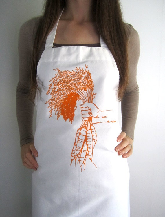 Screen Printed Full Apron - Natural Cotton Twill - Carrot Illustration - Eco Friendly Apron- Super Awesome Kitchen Apron